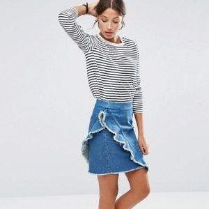 ASOS Denim Mini Skirt with Raw Edge Ruffle Size 4